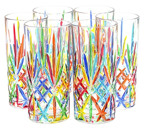 BICCHIERI MELODIA Drink Glasses Crystal Hand Painted Traditional Technique Colors Venice by Boteghe - Real Made in Italy