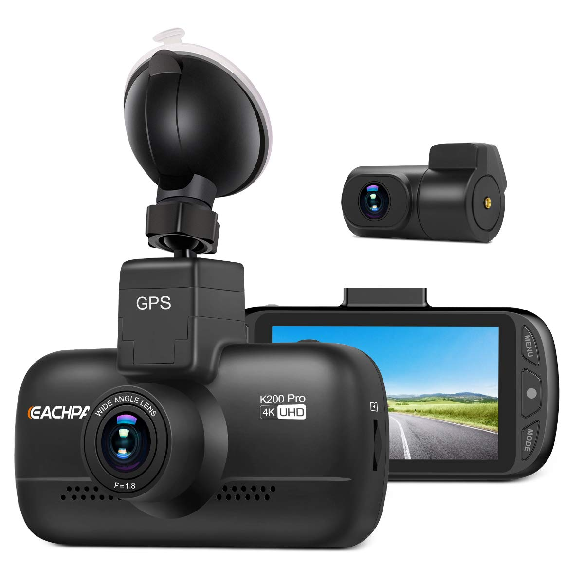 Dual Dash Cam 4K Dash Cam (2880x2160P SingleFront) Dual 1920x1080P Front and