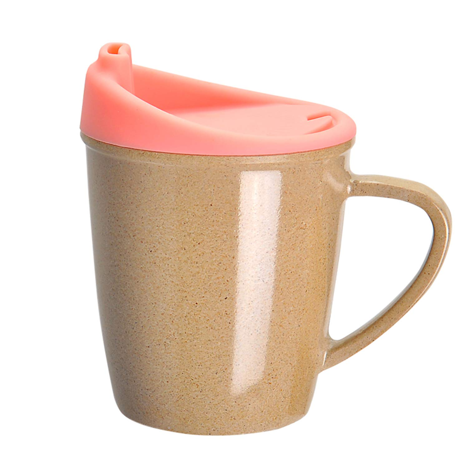 Wuz Kids Learning Cup, Rice Husk Spill Proof Kids Mug 9 oz with Handle and Anti-Leak Locking Lid, Toddler Cups for Milk Water Juice (Pink)