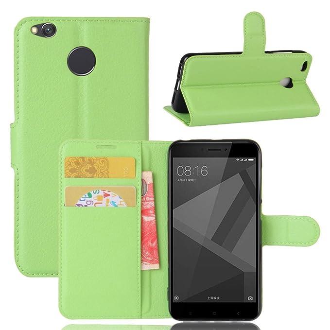 Guran® Funda de Cuero PU Para Xiaomi Redmi 4X Smartphone Función de Soporte con Ranura para Tarjetas Flip Case Cover Caso-verde