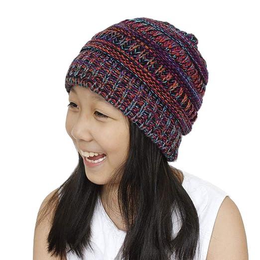 bcaa2c24425 Amazon.com  B.J Beanie Skull Slouchy Caps Boys Girls Winter Warm Crochet  Wool Knit Beanie Ski Hat  Clothing