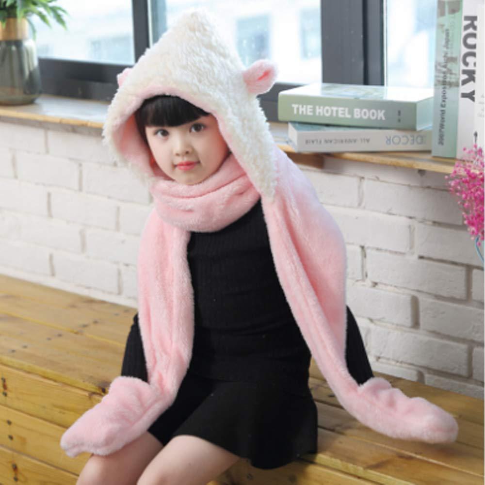 7c37aec5c6af Kids Girls Cartoon Scarves Hat Gloves 3-in-1 Set Winter Super Soft Plush  Full Hood Cap ...