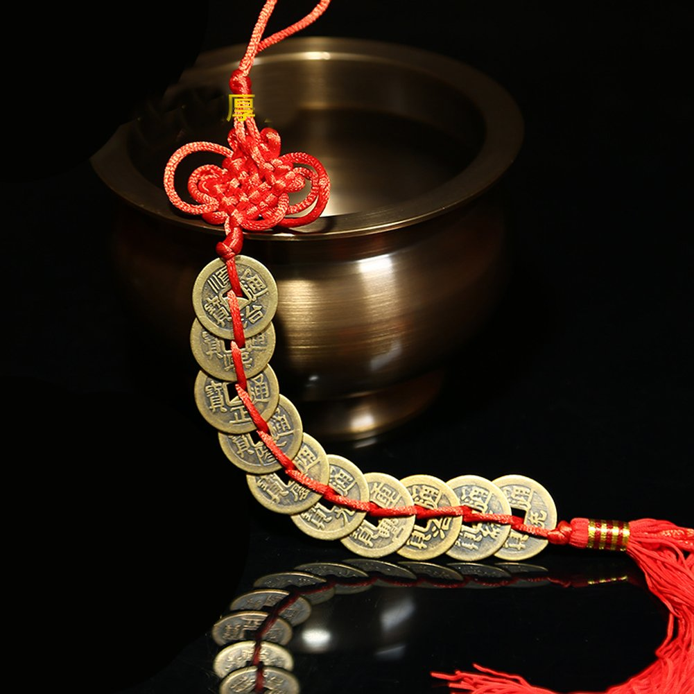 Bwinka Chinese Lucky Coins Charm on Auspicious Red Cord Feng Shui for Wealth and Success Best Gift