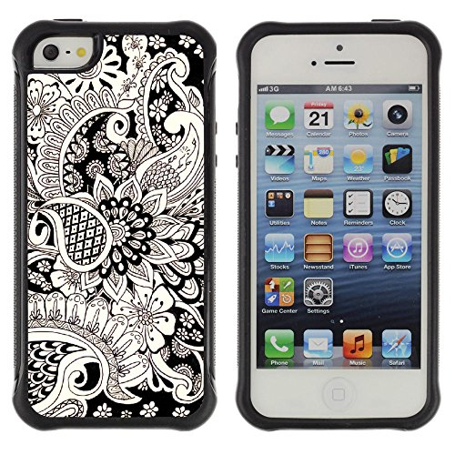 (Graphic4You Henna Tattoo Flower Soft Rubber Shock-Proof Anti-Slip Hybrid Gel Case Cover for Apple iPhone SE / 5 / 5S)