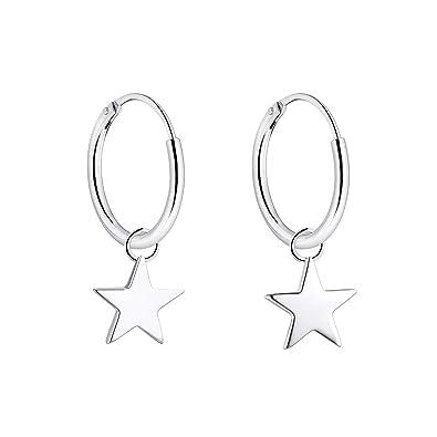 72b6fd1a4 YL Star Hoop Earrings 925 Sterling Silver Polished Circle Endless Earrings  15mm Dangle Hoops Diameter Jewelry