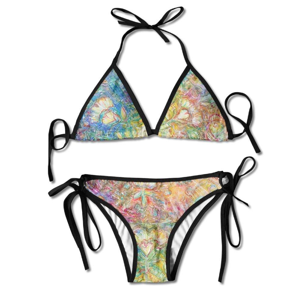 FDJKHY Personalized Women Bikini-Opening To Love Art Painting Abstract Lucky Hearts Swimsuit Beachwear