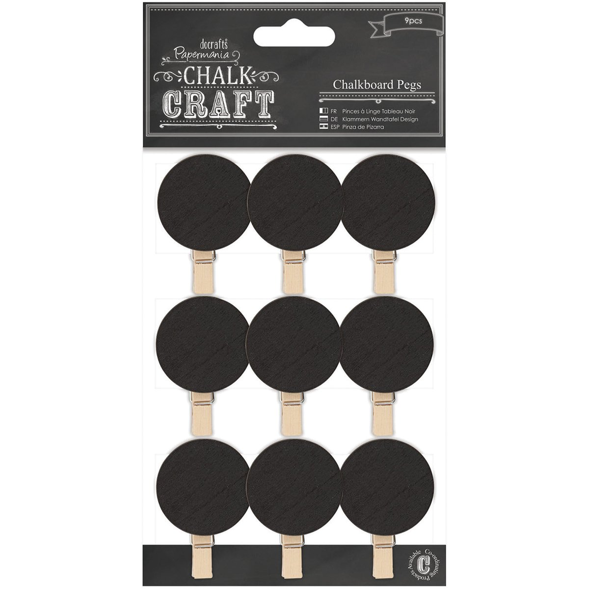 DOCrafts Chalk Craft Chalkboard, Pegs Circles