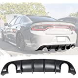 IKON MOTORSPRTS Rear Diffuser Compatible With 2015-2020 Dodge Charger Base Trim V2 Style Glossy Black PP Bumper Spoiler Lip Lower Valance