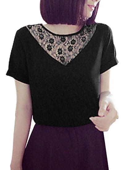 0a9220ff242 Lady Short Sleeve Lace Panel Chiffon Blouse Black XS at Amazon Women s  Clothing store
