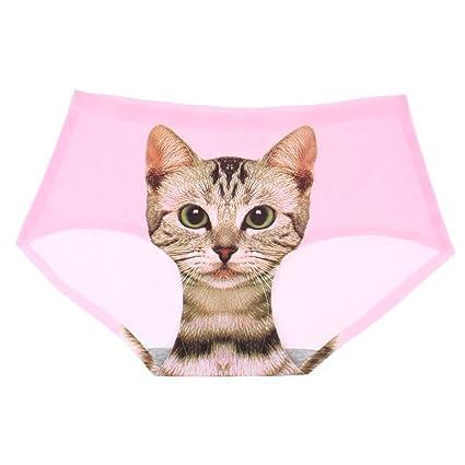 De la Mujer Sexy sin costuras 3d diseño de gatos ropa interior comodidad suave Slip talla