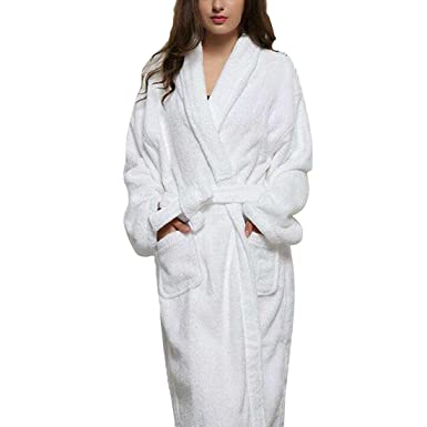 Unisex Towelling Robe 100% Cotton Terry Towel Bathrobe Dressing Gown Bath  Robe Perfect for Gym Shower Spa Hotel Robe Holiday Present or Christmas  Gift  ... 777cd0a0b