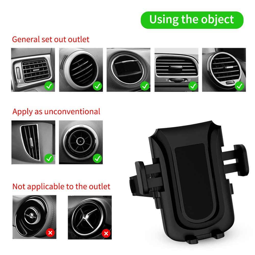 Uverbon Car Phone Mount Air Vent Phone Holder for Car with All Aluminum Alloy Horder + Dual 360 Degree Rotation for iPhone, Samsung, Google Nexus, Huawei and More