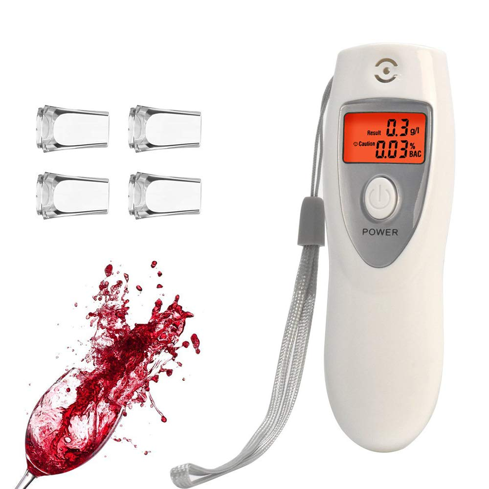 Digital Breath Alcohol Tester Portable Breathalyzer with LCD Display and Replacement Mouthpieces Personal Use