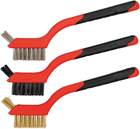 Nylon 3 Pieces Wire Scratch Brush for Cleaning Rust Stainless Steel Wire Brush Set Extra Cluster of Bristles for Hard-to-Reach Areas Wire Brush for Rust Removal Wire Scratch Brush Brass