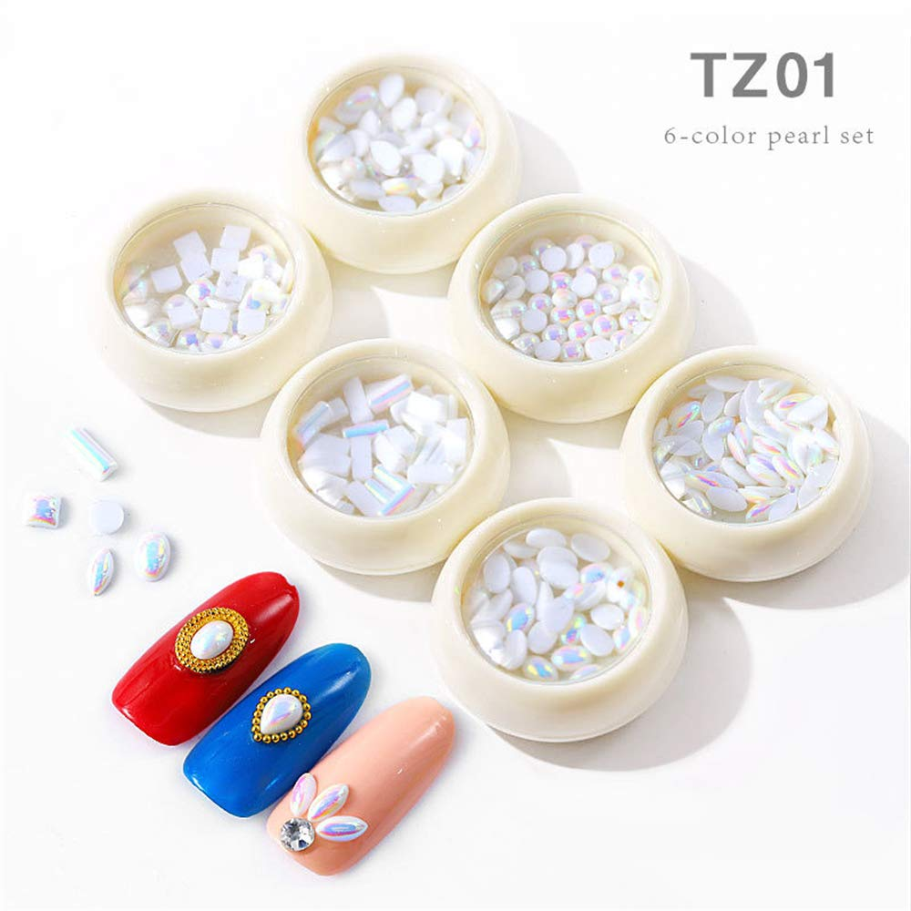 6 Boxes Mixed Size Shape Pearls White AB Stones Nail Rhinestone DIY Manicure 3D Pearl Nail Art Decorations Women Beauty Nail Jewelry by Mezerdoo
