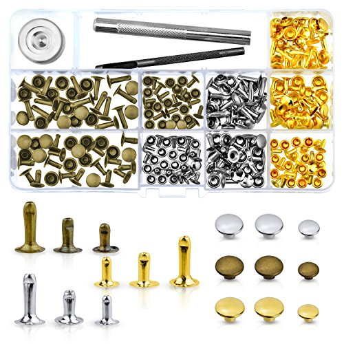 WXJ13 135 Sets 3 Sizes Single Cap Rivets Metal Leather Rivets with 3 Pieces Tool kits for Rivets Replacement, Leather Decoration (Rivets Rapid)