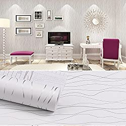 SimpleLife4U Grey Striped Contact Paper Home Bedroom Decorative Removable Wallpaper Roll 17.7 Inch By 9.8 Feet