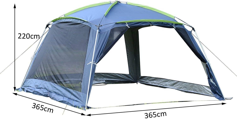 Outsunny Carpa Tipo Avancé Plegable para Camping Azul Oscuro Tela Oxford 210D 360x355x215 cm