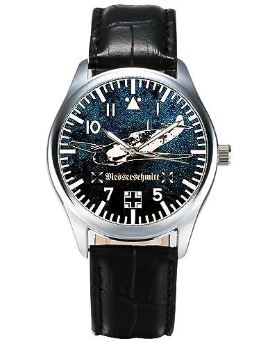 Messerschmitt BF-109 de la Luftwaffe conmemorativa de la Segunda Guerra Mundial 40 mm de aviones de combate de la muñeca reloj de pulsera para mujer: ...