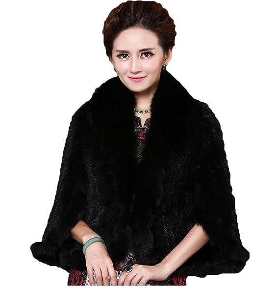 Amazon.com: Mujer elegante real Visón capa/chal Poncho con ...