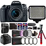 Canon EOS 77D 24.2MP DSLR Camera + 18-55mm + 58mm Telephoto Lens + Filter Kit + Macro kit + Two 32GB Memory Card + Holder + Reader + Led Video Light + Case + Flexible Tripod + 3pc Cleaning Kit