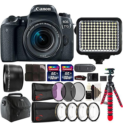Canon EOS 77D 24.2MP DSLR Camera + 18-55mm + 58mm Telephoto Lens + Filter Kit + Macro kit + Two 32GB Memory Card + Holder + Reader + Led Video Light + Case + Flexible Tripod + 3pc Cleaning Kit For Sale