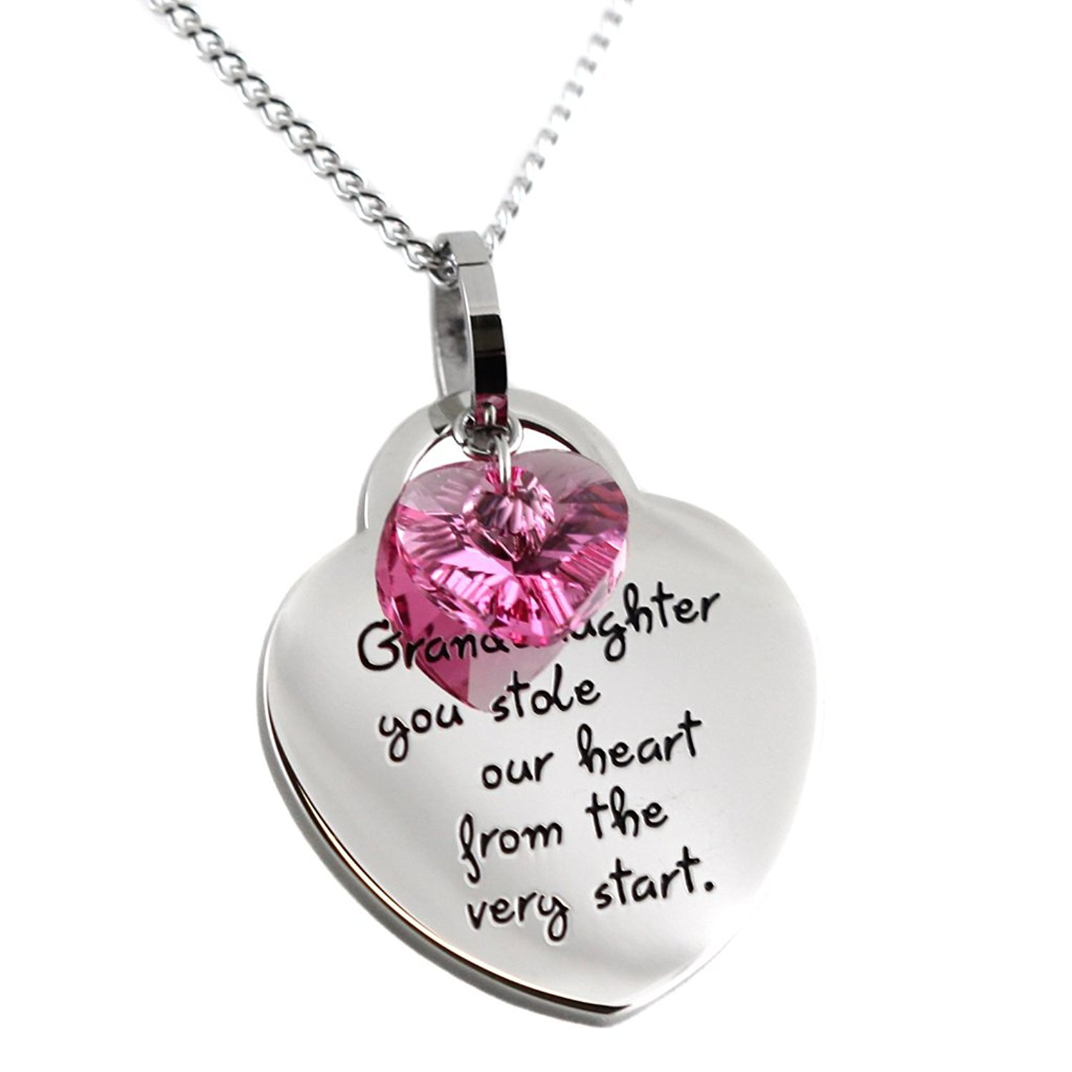 'Grandaughter, You Stole Our Heart from the Very Start' Pendant Necklace 'Grandaughter Steal My Heart B06XDY6BYH_US
