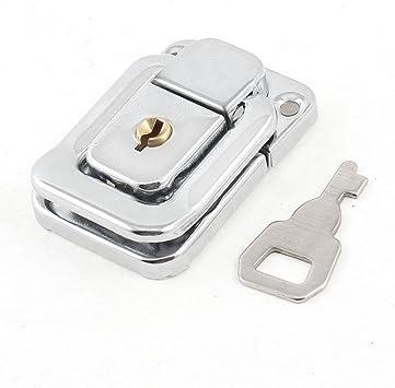 Sourcingmap a14030400ux0248 - Tono plateado caso maletas de acero inoxidable caja de cerrojo de bloqueo de cierre w clave: Amazon.es: Bricolaje y herramientas