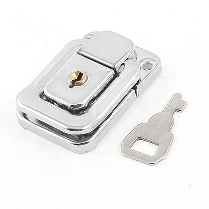 Sourcingmap a14030400ux0248 - Tono plateado caso maletas de acero inoxidable caja de cerrojo de bloqueo de