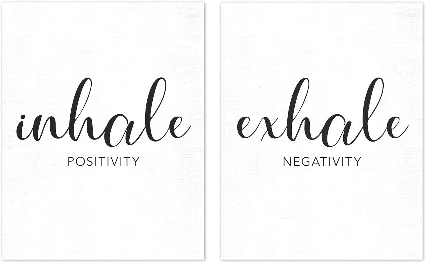 Inhale Positivity Exhale Negativity Wall Art Print UNFRAMED (11x14), Black and White Inspirational Quotes, Yoga Sayings, Relax Minimalist Poster