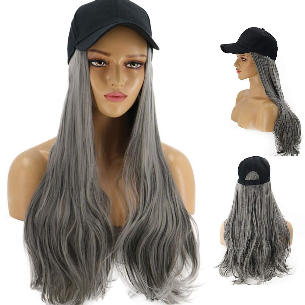 Fine Baseball Cap with Hair Synthetic Hats with Hair Attached for Women Black Hat with Hair Long Wavy Hair for Women Daily Party Use (Gray) by Fine