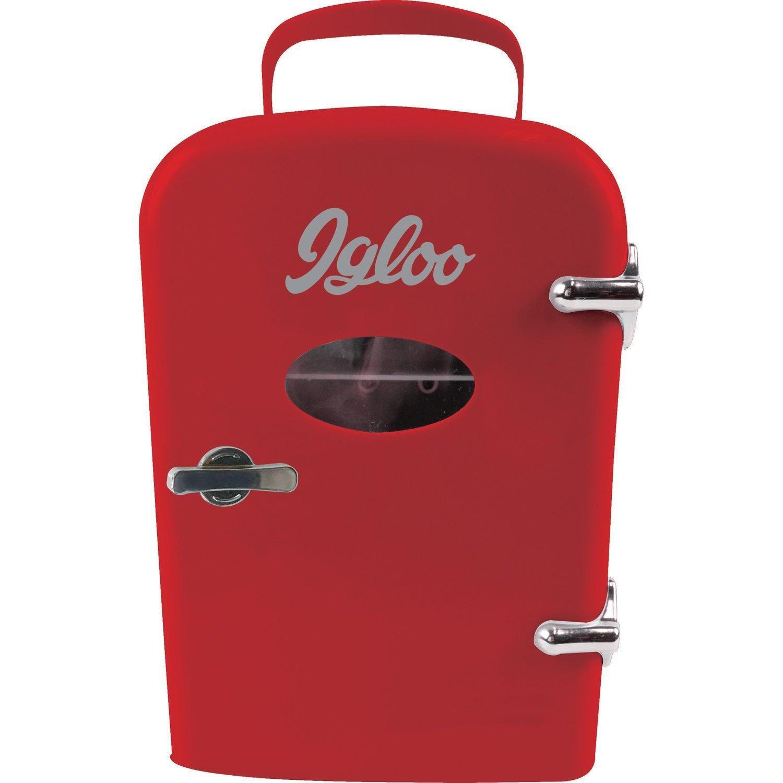 Igloo Mini Beverage Refrigerator - Retro 6 Can Mini Fridge Red - 4 Liter Capacity