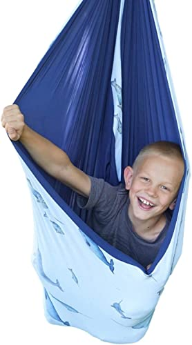 SENSORY4U Lycra Sensory Swing Double Layered and Reversible Narwhal Print or Navy Blue Fabric Indoor Therapy Swing Snuggle Cuddle Hammock Cacoon for Children with Autism ADHD and Aspergers