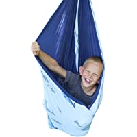 SENSORY4U Sensory Swing (Double Layered and Reversible Narwhal Print or Navy Blue Fabric) Indoor Therapy Swing Snuggle…