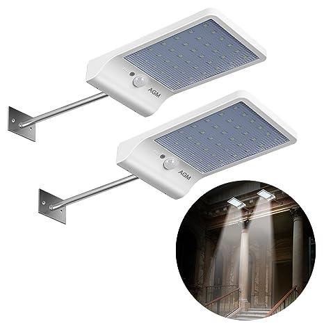 AGM Pack de 2 lámpara Solar exterior con detector de movimiento 36 LED inalámbrico impermeable IP65