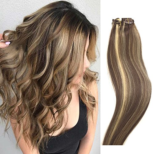 Human Hair Extensions Clip in Light Brown to Blonde Highlights 14 inch Real Human Hair balayage Ombre 7 PCS Full Head Silky Straight Long Clip on Hair Extensions 70g Remy Hair (Hair Extensions Remy)