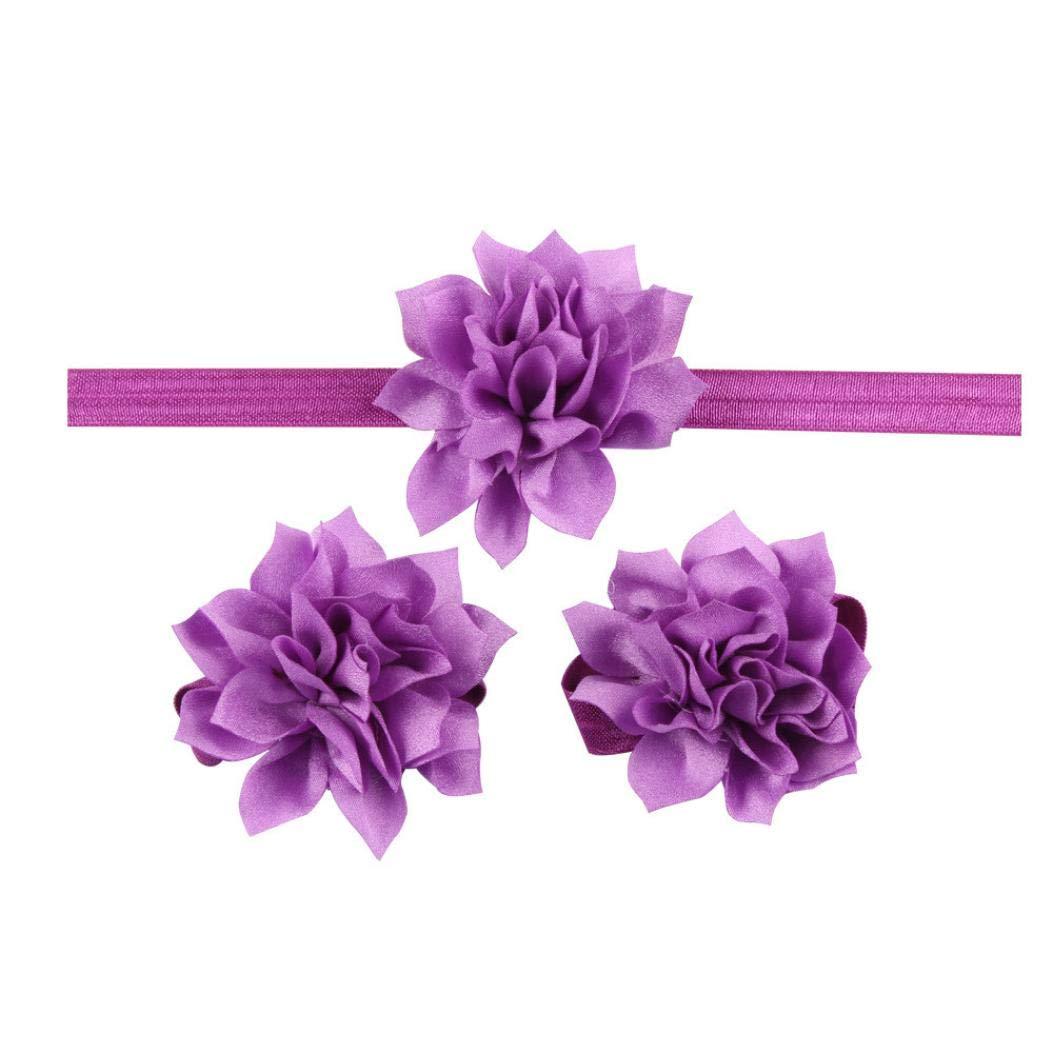 Jinjiums baby hairband,Baby Girls Toddler Children's Lotus Flower headsuit Hairband Headband Flower Barefoot Sandal (Purple)
