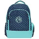 Navy Polka Dot Laptop School Backpack (Personalized)