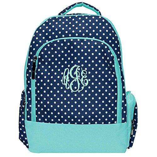 Navy Polka Laptop School Backpack