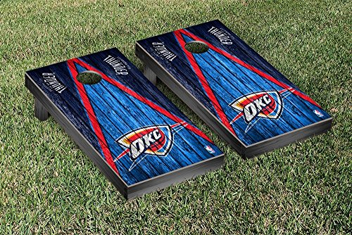 Oklahoma City Thunder NBA Basketball Regulation Cornhole Game Set Triangle Weathered Version by Victory Tailgate
