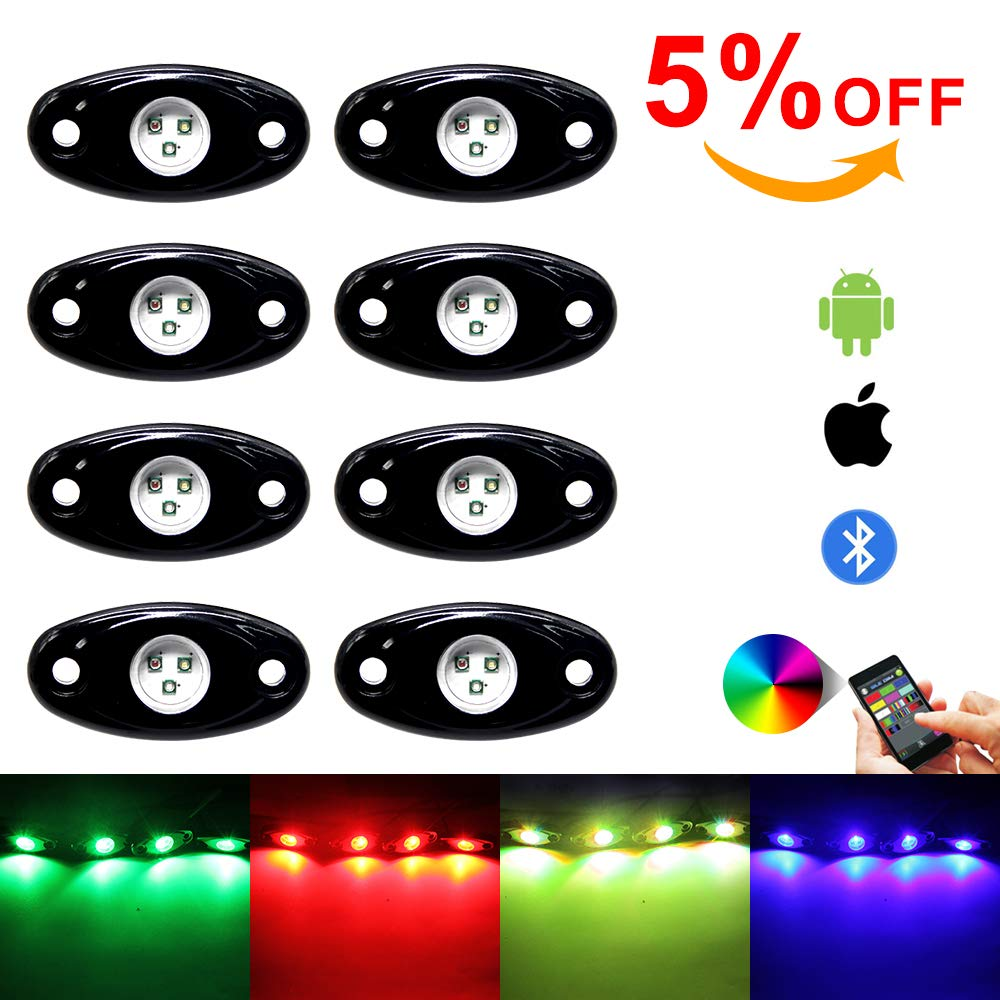 8pod OPL5 8 Pod RGB Led Rock Lights Kits with Bluetooth Control Waterproof Neon Lights DIY Color Timing Music Mode for Offroad Car Jeep Off Road Truck SUV ATV UTV Motorcycle