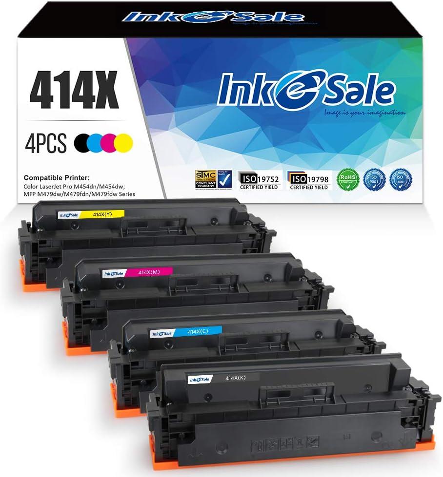 INK E-SALE 4-Packs Compatible Toner Cartridge Replacement for HP 414X 414A M454dw M479fdw for HP Color Laserjet Pro M454dw M454dn MFP M479fdw M479fdn Black Cyan Yellow Magenta Printer
