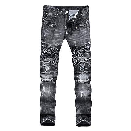 Chlyuan Jeans de Hombre Rasgado Delgado Desgastado ...