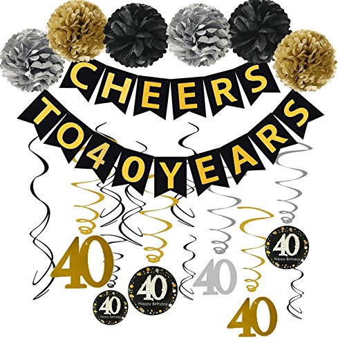 Famoby Gold Glittery Cheers to 40 Years Banner with Pom Poms 40th Sparkling Hanging Streamers for 40th Anniversary Decorations 40th Birthday Party Decorations Supplies