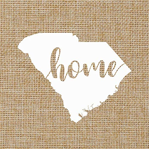 South Carolina SC Home Script | State Silhouette | Glossy White Outdoor Vinyl | Car Window Decal | 4.5