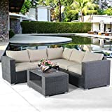 TANGKULA 4 PCS Patio Furniture Set Garden Lawn All Weather Rattan Wicker Sectional Cushioned Couch Corner Sofa Set For Sale