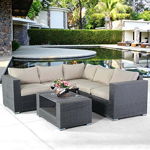 Cheap TANGKULA 4 PCS Patio Furniture Set Garden Lawn All Weather Rattan Wicker Sectional Cushioned Couch Corner Sofa Set