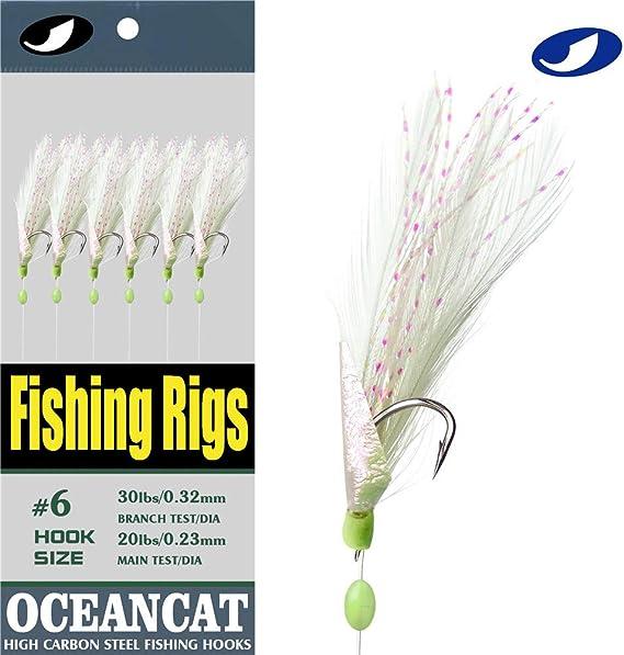 5 x sea fishing jumbo hot pink hokkai rigs feathers 7//0   hooks.
