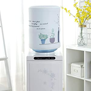 MiDube Water Dispenser Barrel Covers, Durable Fabric Bucket Decor, Reusable Furniture Standard Cover Protector for Home, Office and 5 Gallon Water Bottle (Chlorophytum)