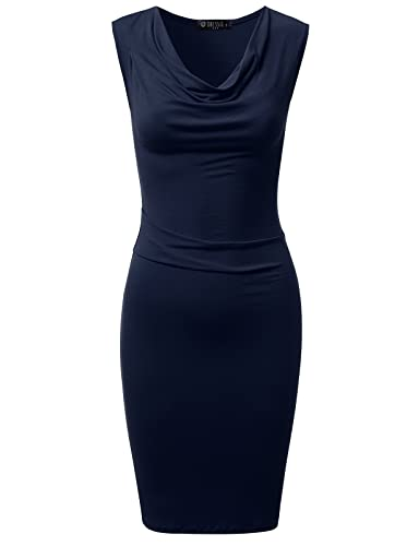 DRESSIS Womens Knitted Sleeveless Cowl Neck Fitted Dress